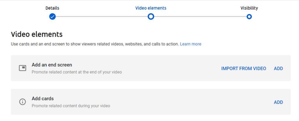 video elements to uplaod a video on youtube