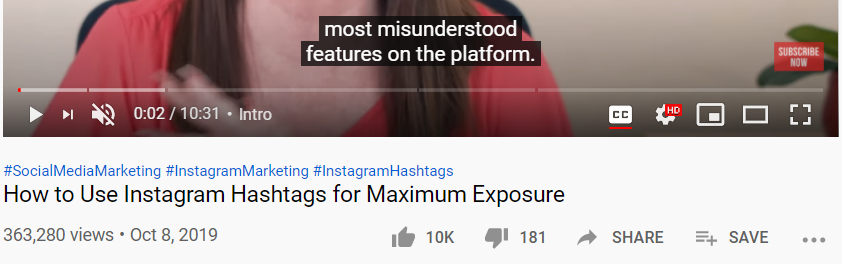 what are hashtags on youtube